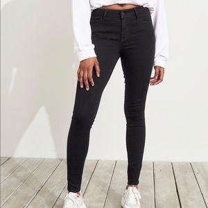 Hollister Super Skinny Mid Rise Black Jeans